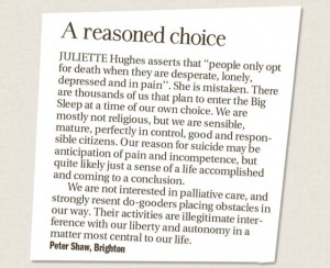 Peter Shaw's letter to the editor