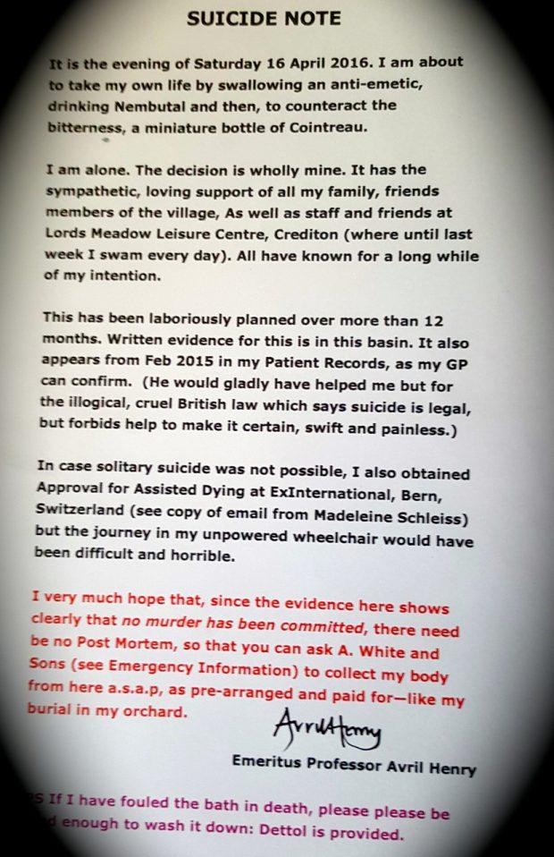 Avril Henrys suicide note