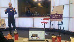 Julijonas Urbonas discussing the Euthanasia Rollercoaster, NuTech 2017